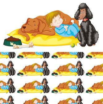Nahtlos mit mädchen und zwei hunden