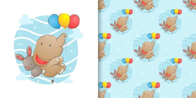 Nahtlos von elefanten fliegen mit luftballons und kaninchen, die ihn illustration umarmen