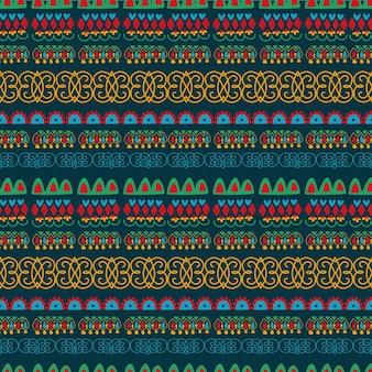 Nahtlose abstrakte geometrische muster schwarzer hintergrund volkskunst handzeichnung