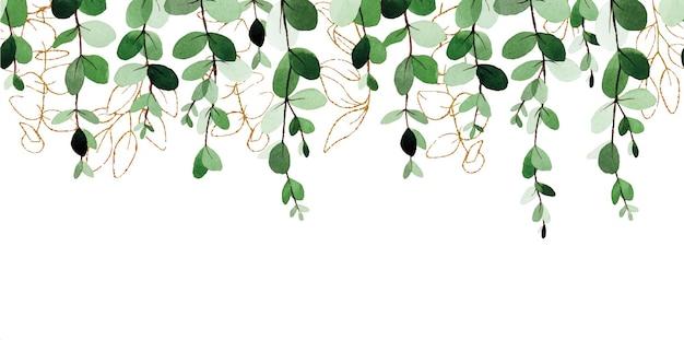 Nahtlose aquarellgrenze mit eukalyptusblättern und goldenen elementen isoliert auf weißem hintergrund