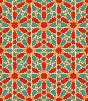 Nahtlose arabische geometrische verzierung in der farbe. jeder formtyp kann bearbeitet werden.
