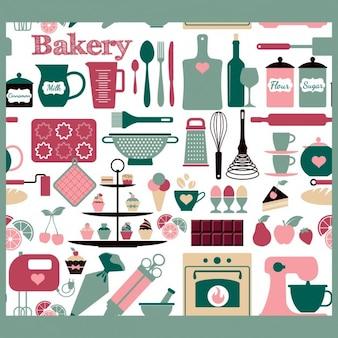 Nahtlose bäckerei werkzeuge muster