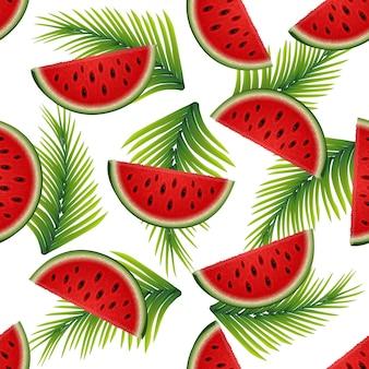 Nahtlose beschaffenheit des sommers von wassermelonenscheiben und von palmblättern für ihre kreativität