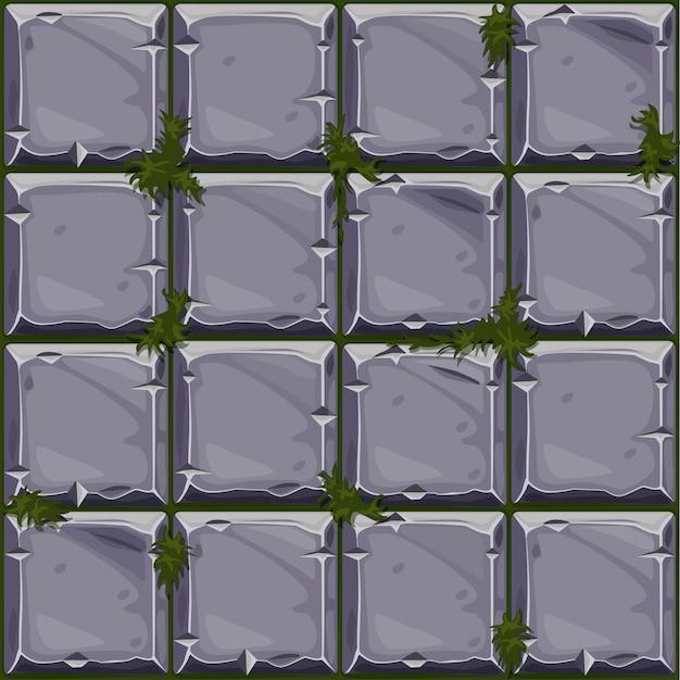 Nahtlose beschaffenheit des steins auf gras, hintergrundsteinwandfliesen. vektorillustration für die benutzeroberfläche des spielelements