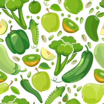Nahtlose beschaffenheit mit grünem gemüse und früchten