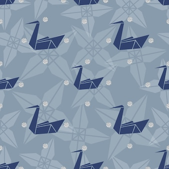 Nahtlose blauen origami vogel mit silber punkt glitter muster hintergrund