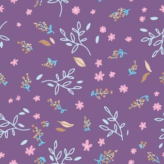Nahtlose blümchenmuster. hand gezeichnete gekritzelblätter, -niederlassungen und -blumen. geschenkpapier nature spring