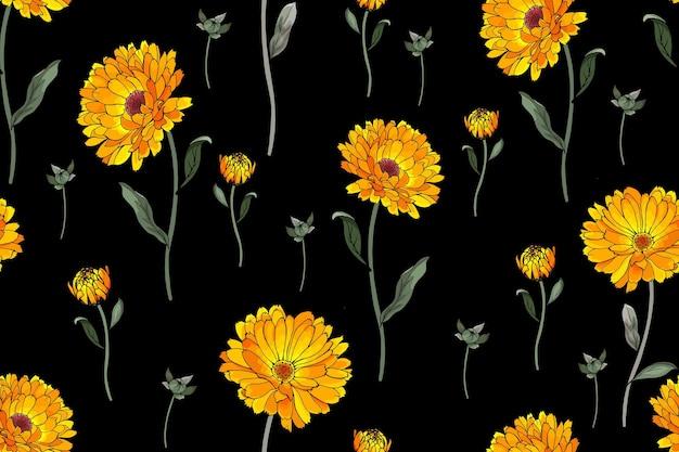 Nahtlose blümchenmuster mit gelben blumen calendula und grünen blättern auf schwarzem hintergrund.