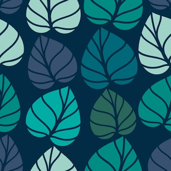 Nahtlose blümchenmuster. nahtloses musterdesign des laubs mit pastellfarbe. tropische blätter muster
