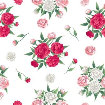 Nahtlose blümchenmuster. pfingstrosen hintergrund. rosa und weißer peon.