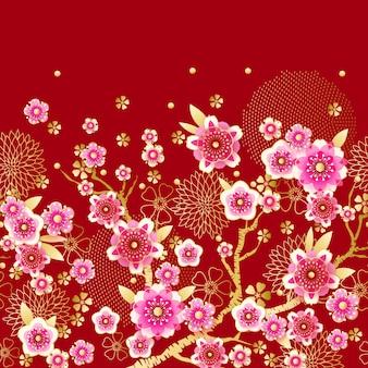 Nahtlose blumenfrühlingsgrenze mit blühender pflaume im chinesischen stil