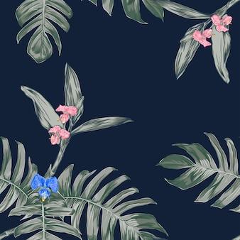 Nahtlose blumenmuster orchidee blüht hintergrund.