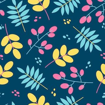Nahtlose blumenmusterfliese in der flachen art. naturhintergrund in den gelben, rosa, blauen farben