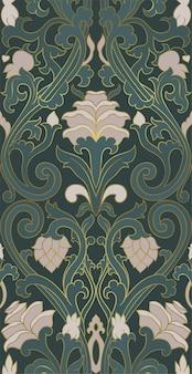Nahtlose blumenverzierung. viktorianisches grünes muster.