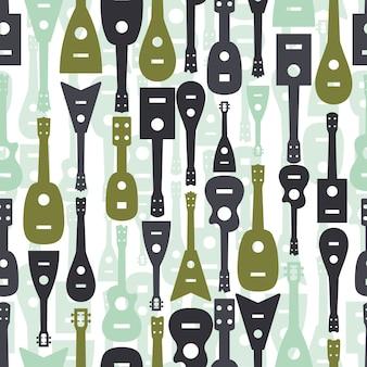 Nahtlose bunte musikalische ausrüstung muster hintergrund mit ukulele und gitarre