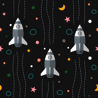 Nahtlose bunte weltraum muster hintergrund mit planeten, raketen und sterne