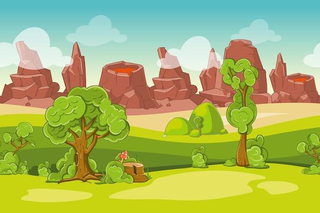 Nahtlose cartoon-naturlandschaft mit bäumen, felsen und vulkanen. berg und lava, vektorillustration