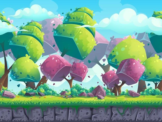 Nahtlose cartoon-naturlandschaft mit futuristischen bäumen