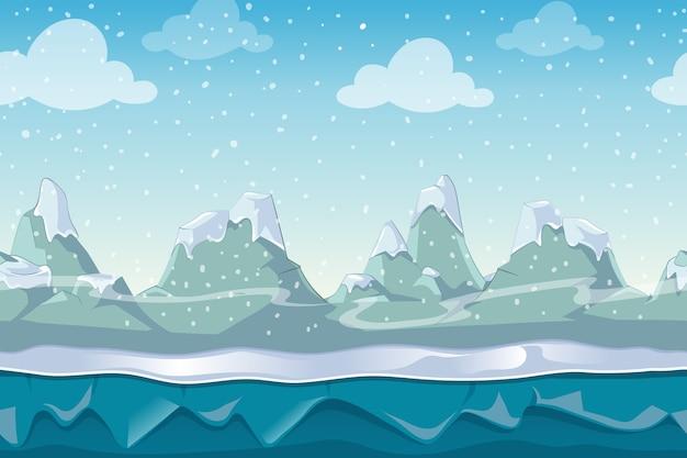 Nahtlose cartoon-wintervektorlandschaft für computerspiel. schnee und himmelberg, außenumgebungsillustration