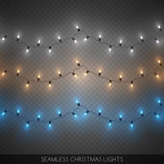 Nahtlose dekorative bunte glühlampegirlanden eingestellt, weihnachtsdekoration