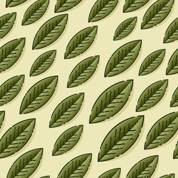Nahtlose dekorative schablonenbeschaffenheit mit grünen blättern auf beigem hintergrund. vorlage für hintergrundbilder, site-hintergrund, druck, karten, menü, einladung. illustration.