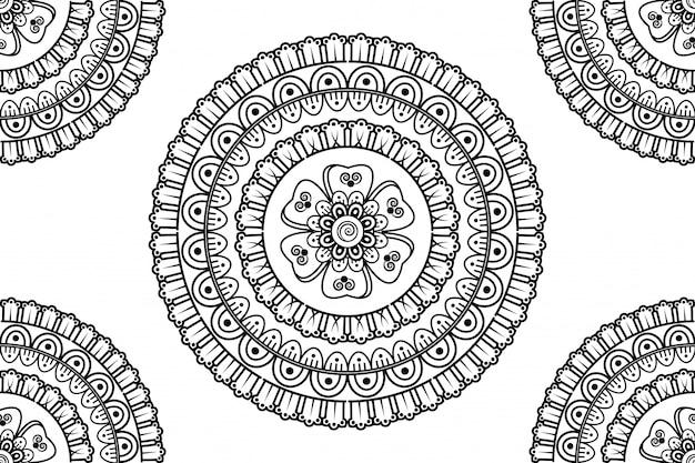 Nahtlose dekorative verzierung im ethnisch orientalischen stil. kreisförmiges muster in form eines mandalas für henna, mehndi, tätowierung, dekoration.