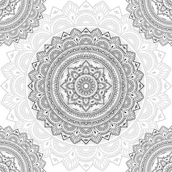 Nahtlose dekorative verzierung in der ethnischen orientalischen art. kreismuster in form von mandala für henna, mehndi, tattoo, dekoration.