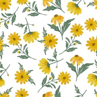 Nahtlose designhandzeichnung der gelben gänseblümchenblumenaquarellmuster mit gelber blumenfarbe und grüner blattfarbe