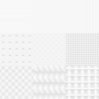 Nahtlose einfache vektor weiße texturen set