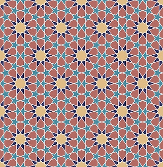 Nahtlose farbige traditionelle arabische geometrische verzierung.