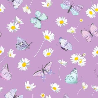 Nahtlose gänseblümchenblumen und violetter vektorhintergrund des schmetterlinges. frühlingsblumenaquarellmuster. sommer schönes textil, rustikale tapete, kamillenillustration, gartenstoff, geschenkpapierdesign