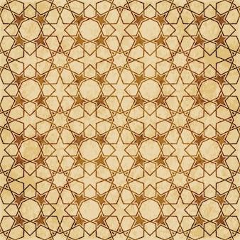 Nahtlose geometriemusterhintergrund-ostart-verzierung des retro-braunen islam