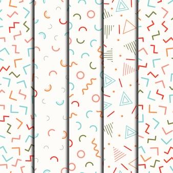 Nahtlose geometrische linie der retro- memphislinie formen eingestellt.