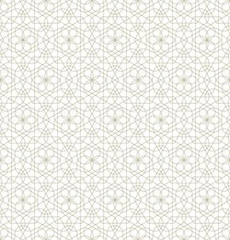 Nahtlose geometrische verzierung basierend auf traditioneller islamischer kunst. braune farblinien. tolles design für stoff, textil, abdeckung, geschenkpapier, hintergrund. dünne linien.