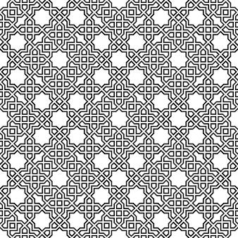 Nahtlose geometrische verzierung basierend auf traditioneller islamischer kunst. braune farblinien. tolles design für stoff, textil, abdeckung, geschenkpapier, hintergrund. konturierte linien.