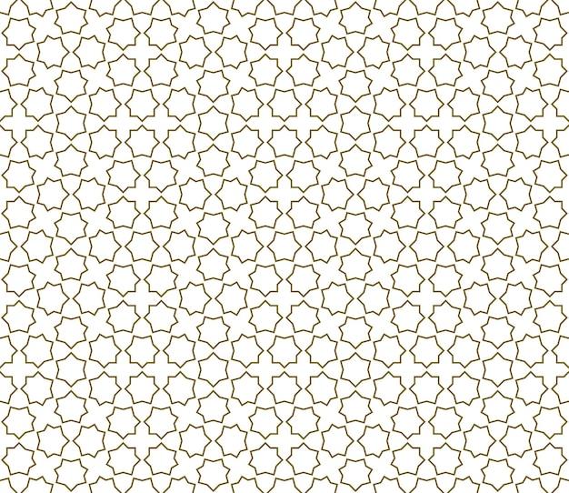 Nahtlose geometrische verzierung basierend auf traditioneller islamischer kunst. braune farblinien. tolles design für stoff, textil, abdeckung, geschenkpapier, hintergrund.