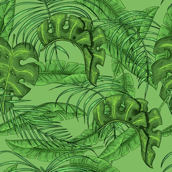 Nahtlose gezeichnete blätter des blumenmusters der tropischen exotischen blätter der palmblätter hand
