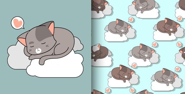 Nahtlose gezeichnete nette katze des musters hand schläft auf wolke