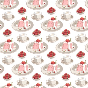 Nahtlose gezeichneter kaffee des musters hand mit erdbeerkuchen