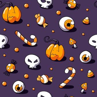 Nahtlose gezeichnetes muster halloweens hand mit den bonbons und den schädeln