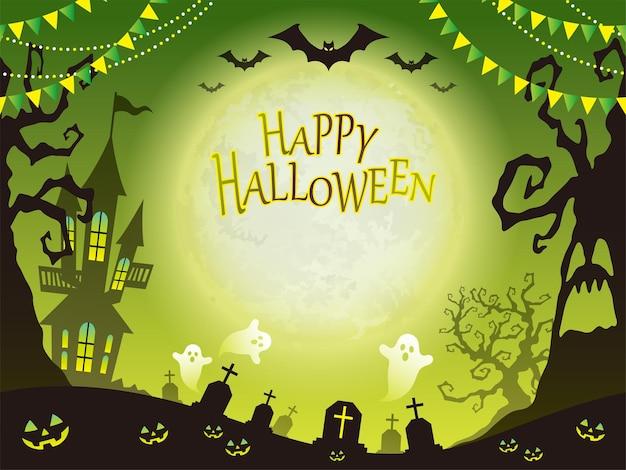 Nahtlose glückliche halloween-vektorhintergrundillustration mit textraum horizontal wiederholbar