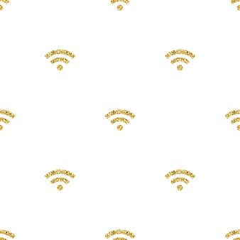 Nahtlose gold glitter wifi netzwerk symbol muster hintergrund