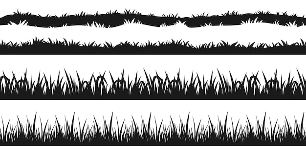 Nahtlose grasgrenze silhouette. büschellinie satz isoliert auf weißem hintergrund. naturelement für rasen- oder wiesengestaltung. schwarze pflanzengrenzensammlung für landschaftsvektorillustration