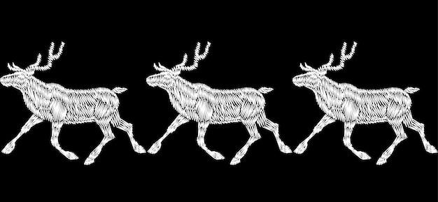 Nahtlose grenze der ren-weihnachtspferdeschlittengeschenk-lieferungs-stickerei. monochromes weißes schwarzes neu