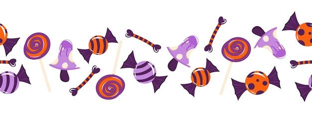 Nahtlose grenze für halloween mit süßigkeiten knochen pilze vektor-illustration