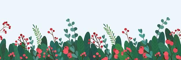 Nahtlose grenze für weihnachtsgrüße. botanisches dekor der feiertags-traditionellen wintersaisonereignisse.