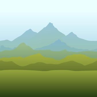 Nahtlose grenze mit bergen natürliche wiederholungstapete für textildruck-landhintergründe