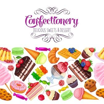 Nahtlose grenze mit süßwaren