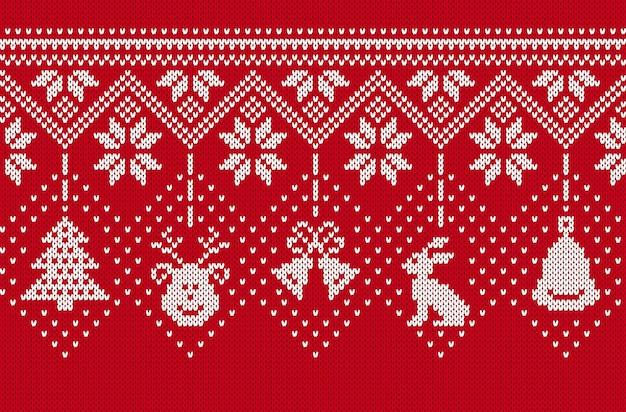 Nahtlose grenze stricken. weihnachten hintergrund. weihnachten gestrickte textur. traditioneller druck auf der festinsel