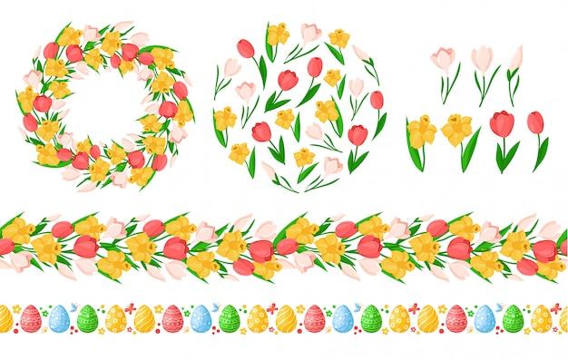 Nahtlose grenzen des ostertags mit ostereiern, frühlingsblumen - gelbe narzisse, rosa tulpe, schneeglöckchen, kranz